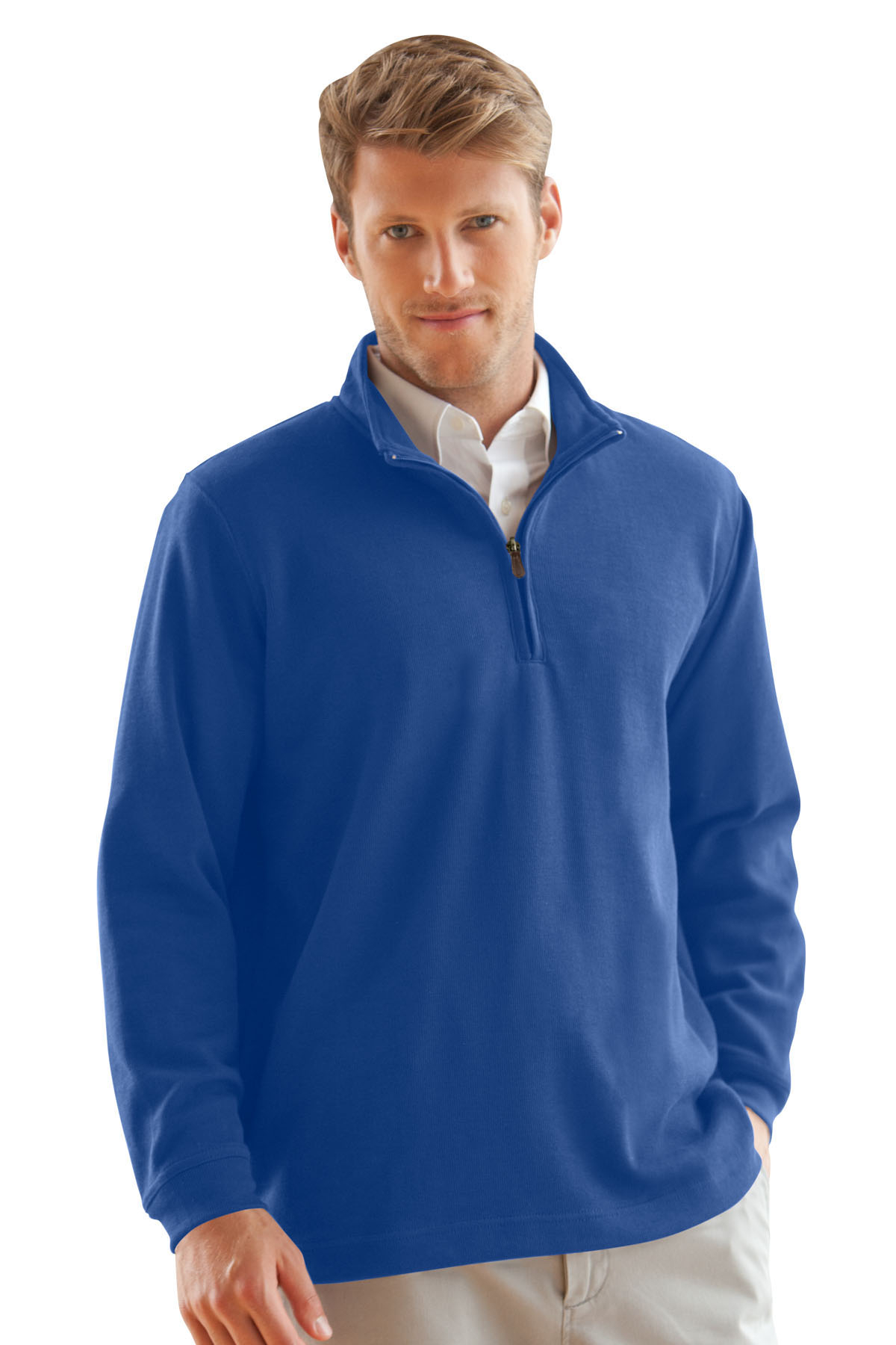 Vantage 9175 - One Quarter Zip Flat-Back Rib Pullover