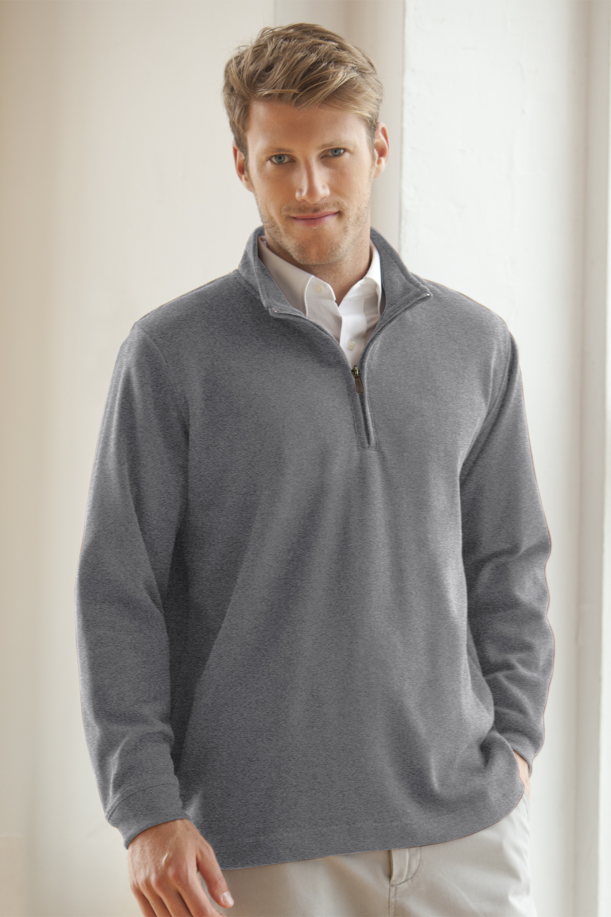 Vantage 9175 - One Quarter Zip Flat-Back Rib Pullover $24.83 ...