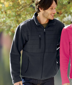 ULTRACLUB - 8492 Men's Fleece Jacket with Quilted Yoke Overlay