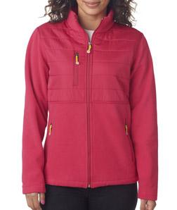 ULTRACLUB - 8493 Ladies' Fleece Jacket with Quilted Yoke Overlay