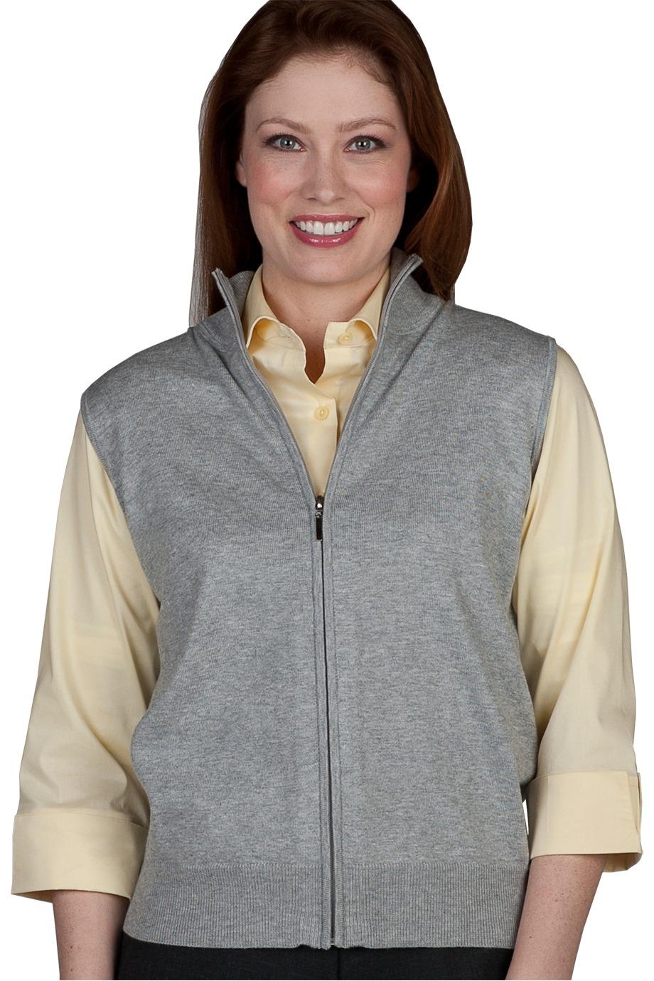 Edwards Garment 063 女士全拉链开襟羊毛衫马甲背心
