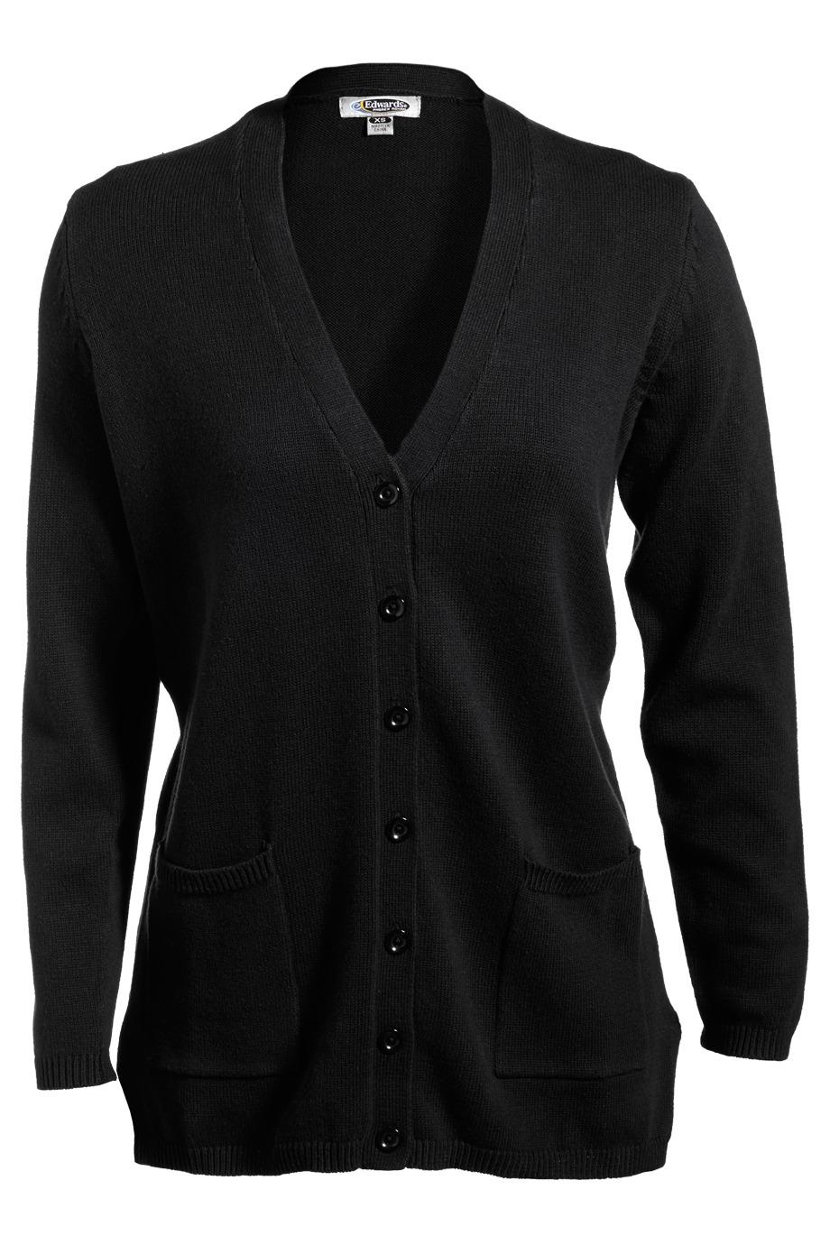Edwards Garment 119 女士V字领长款开襟羊毛衫