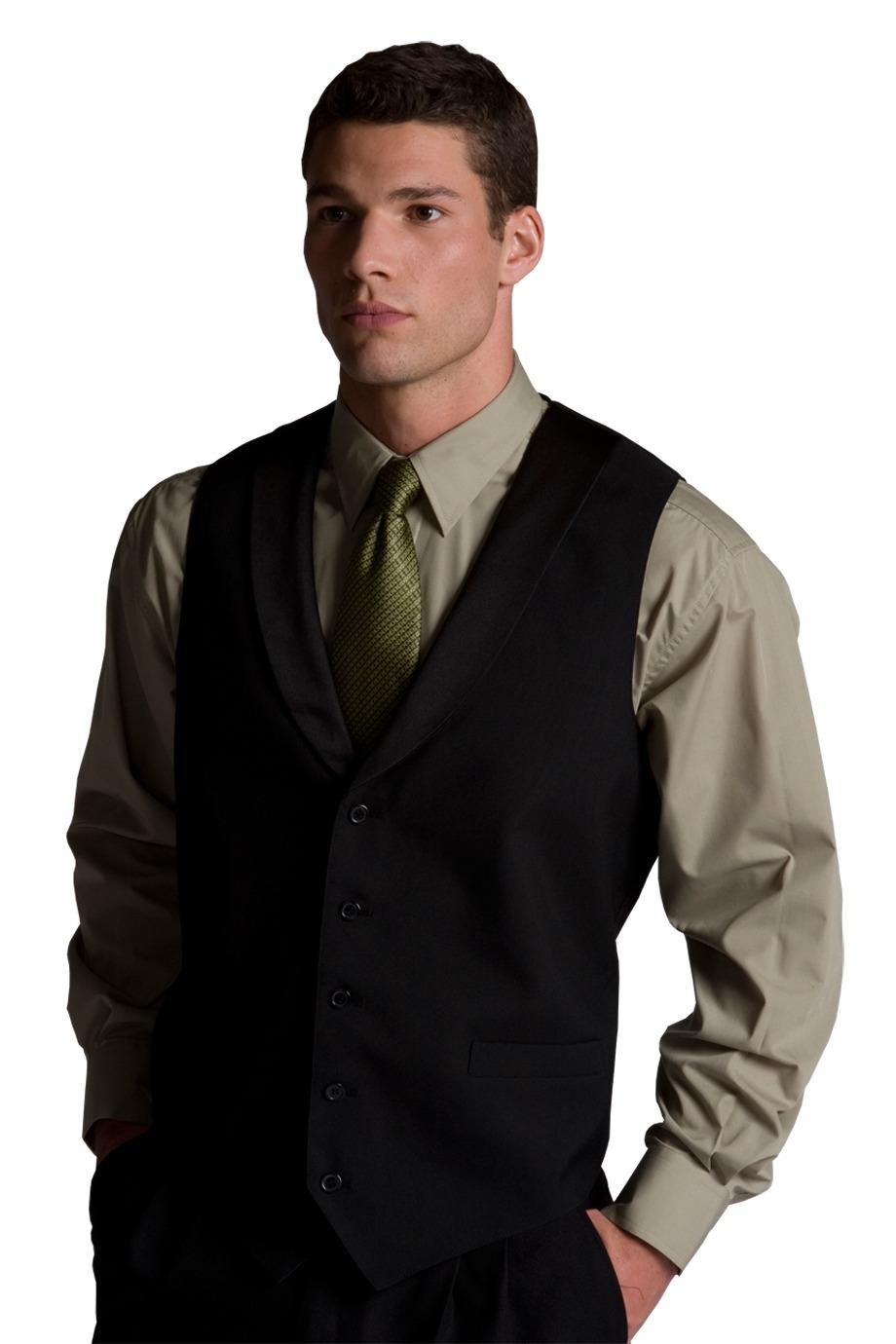 Edwards Garment 4495 - Men's Black Satin Shawl Vest