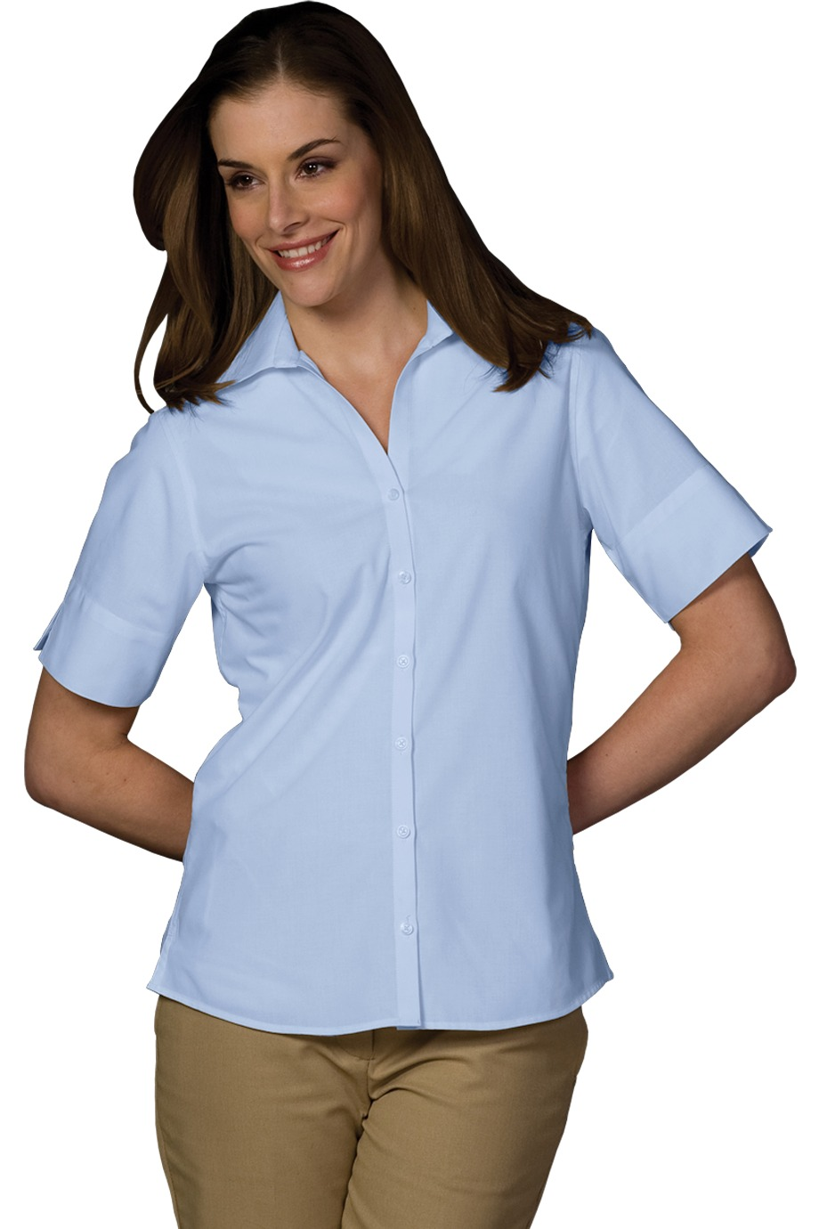 Edwards Garment 5245 - Women's Open Neck Poplin Short Sleeve Blouse