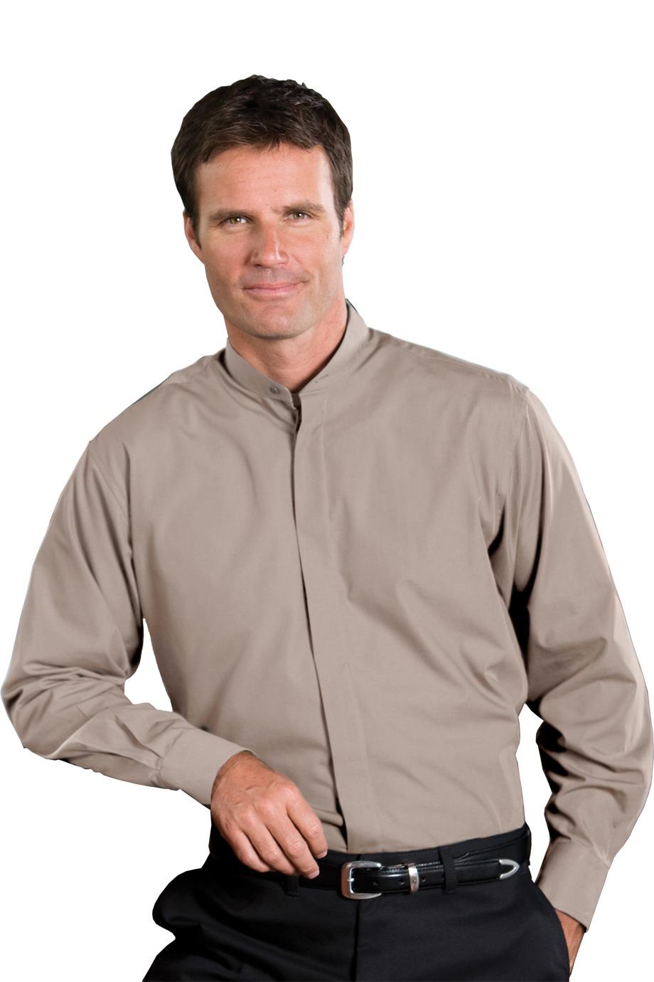 Edwards garment 1396 men 39 s long sleeve banded collar for Men s collarless banded collar dress shirt