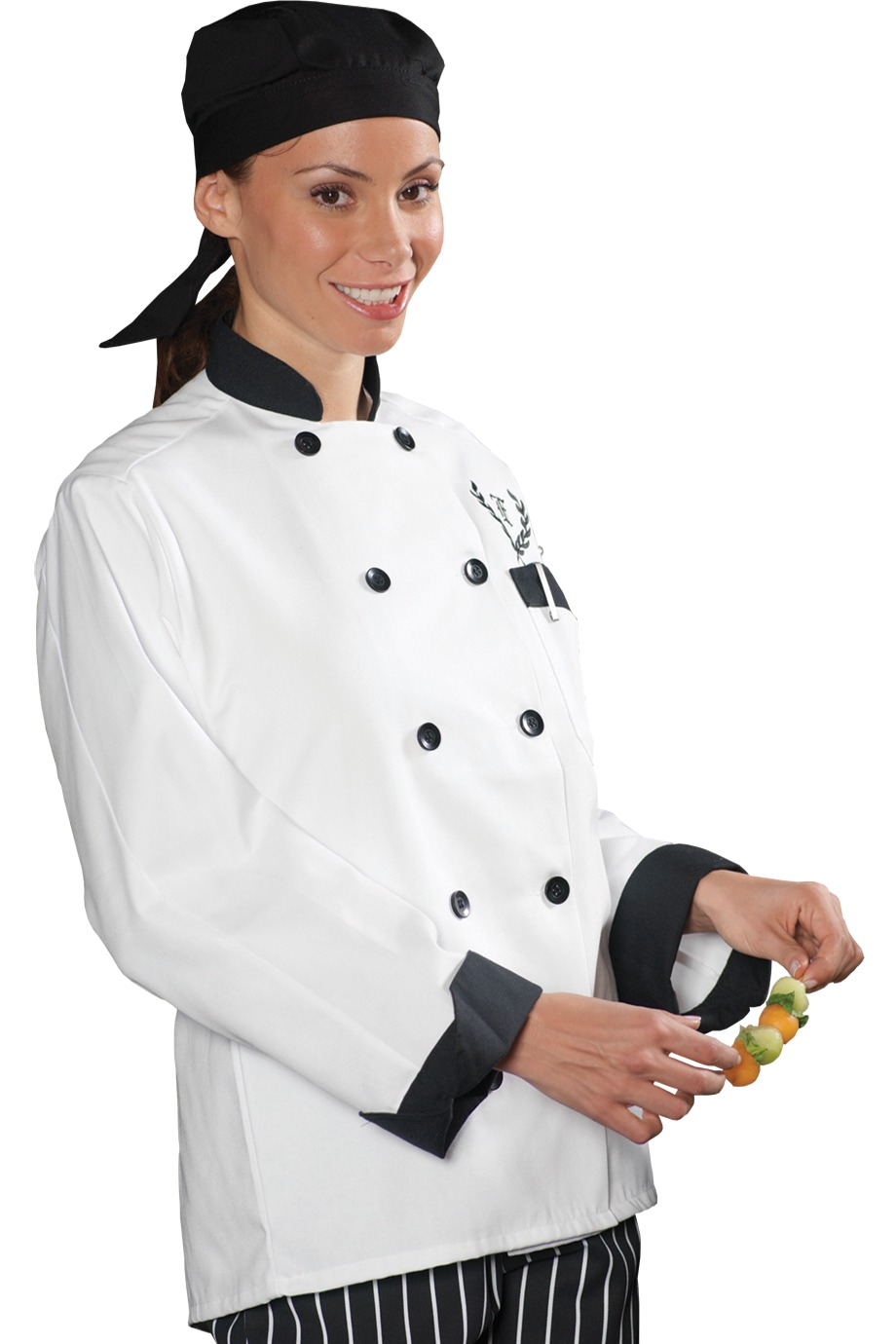 Edwards Garment 3303 - Classic 10 Black Button Chef ...