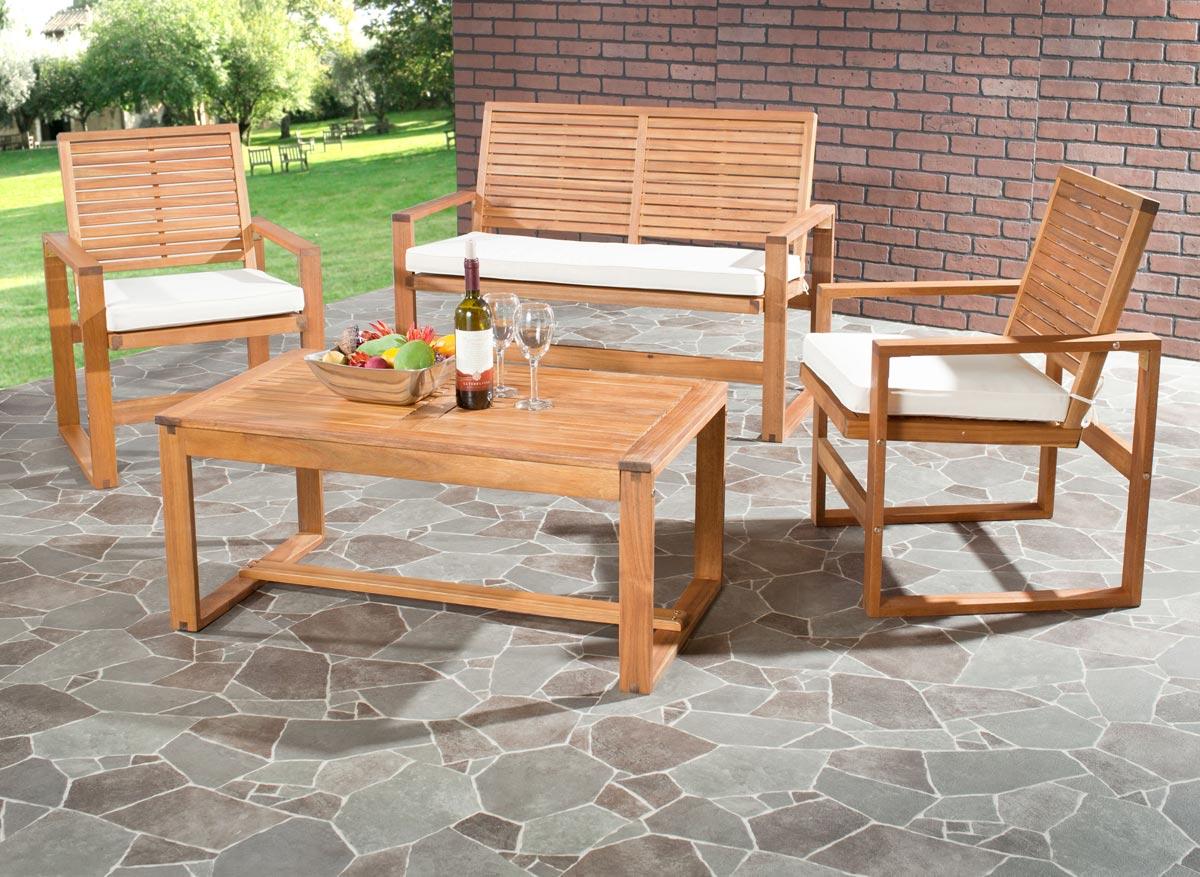 Safavieh FOX6007A OZARK 户外家具桌椅套装四件套