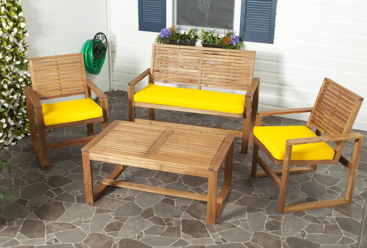 Safavieh FOX6007B OZARK 户外家具桌椅套装四件套
