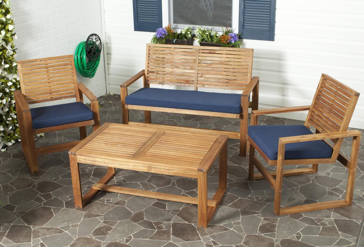 Safavieh FOX6007C OZARK 户外家具桌椅套装四件套