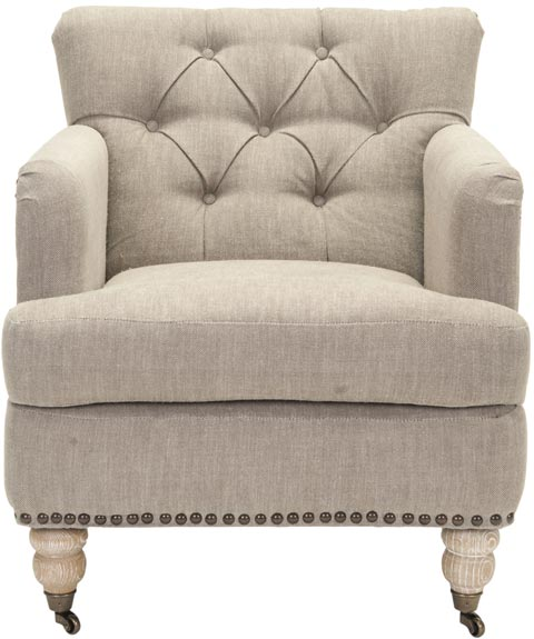 Safavieh   HUD8212F COLIN TUFTED CLUB CHAIR   TAUPE LINEN