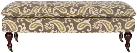 Safavieh - HUD8239H HAMPTON PILLOW TOP BENCH - BROWN