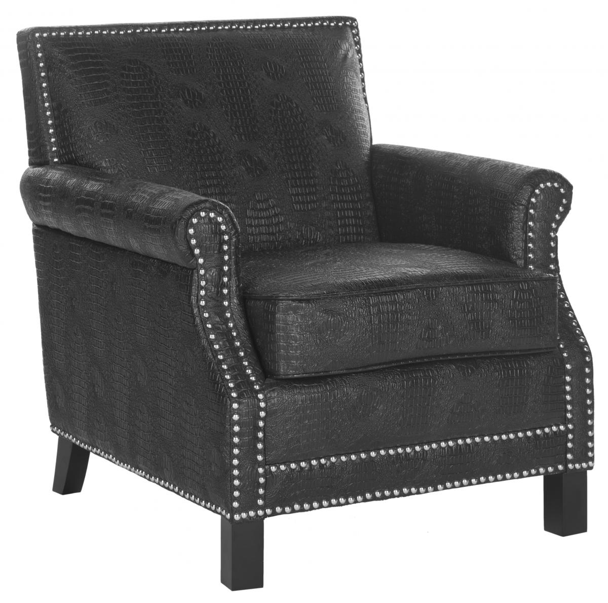 Safavieh - MCR4572F EASTON CLUB CHAIR - BLACK CROC FINISH