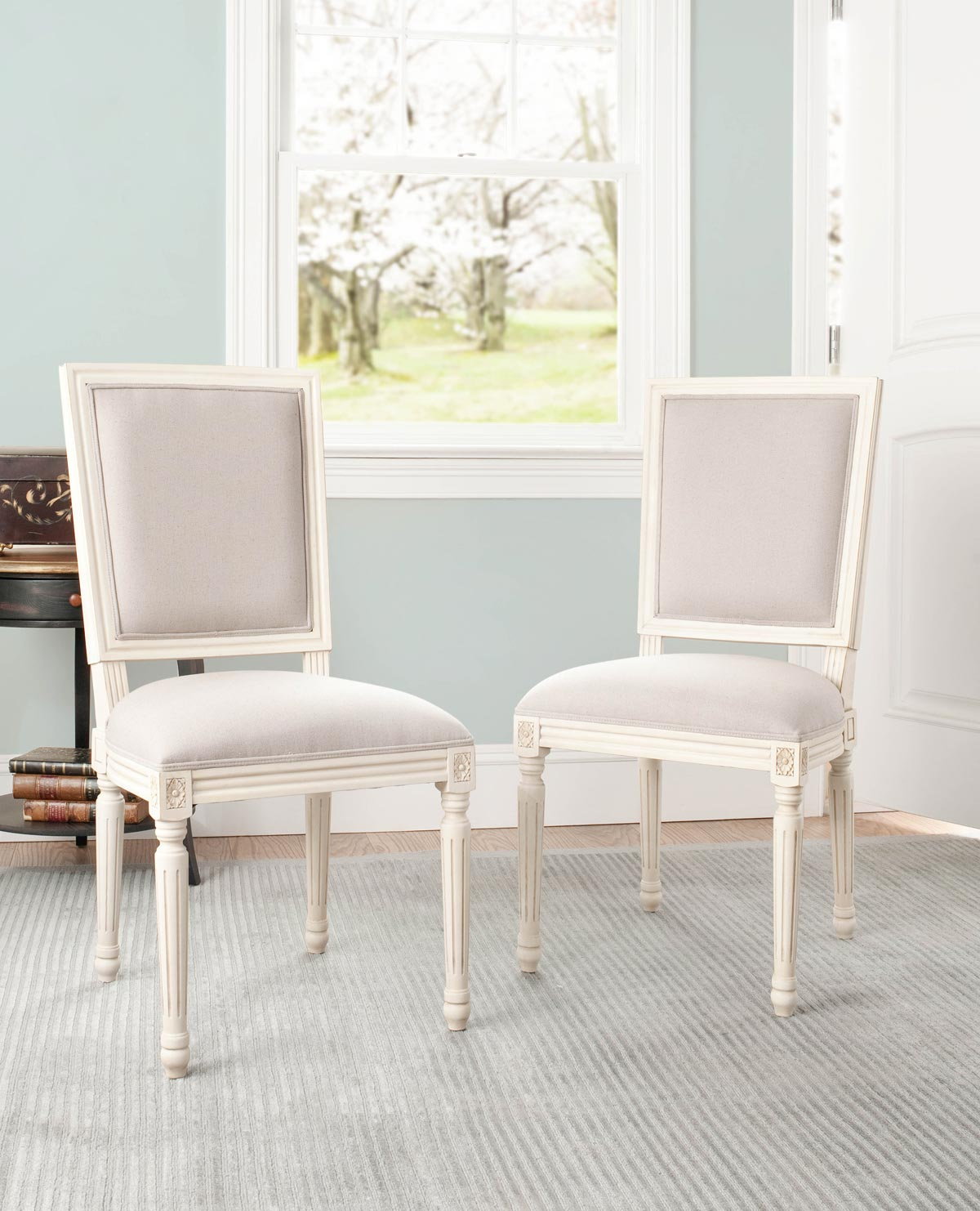 Safavieh MCR4516C ASHTON SIDE CHAIR TAUPE SET OF TWO 80100