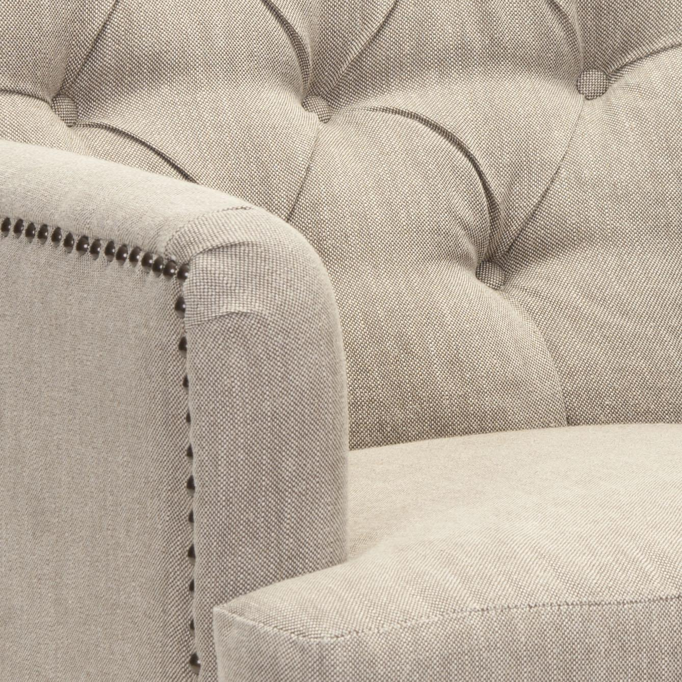 ... Safavieh   HUD8212F COLIN TUFTED CLUB CHAIR   TAUPE LINEN