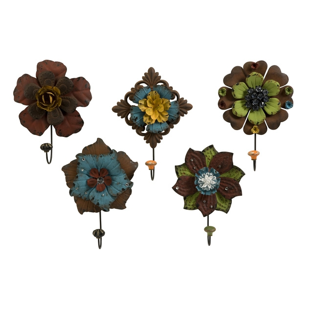 IMAX 74080-5 Caldwell Floral Wall Hooks - Set of 5