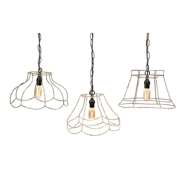 IMAX 87613-3 Crestly Wire Lamp Shade Pendants - Set ...