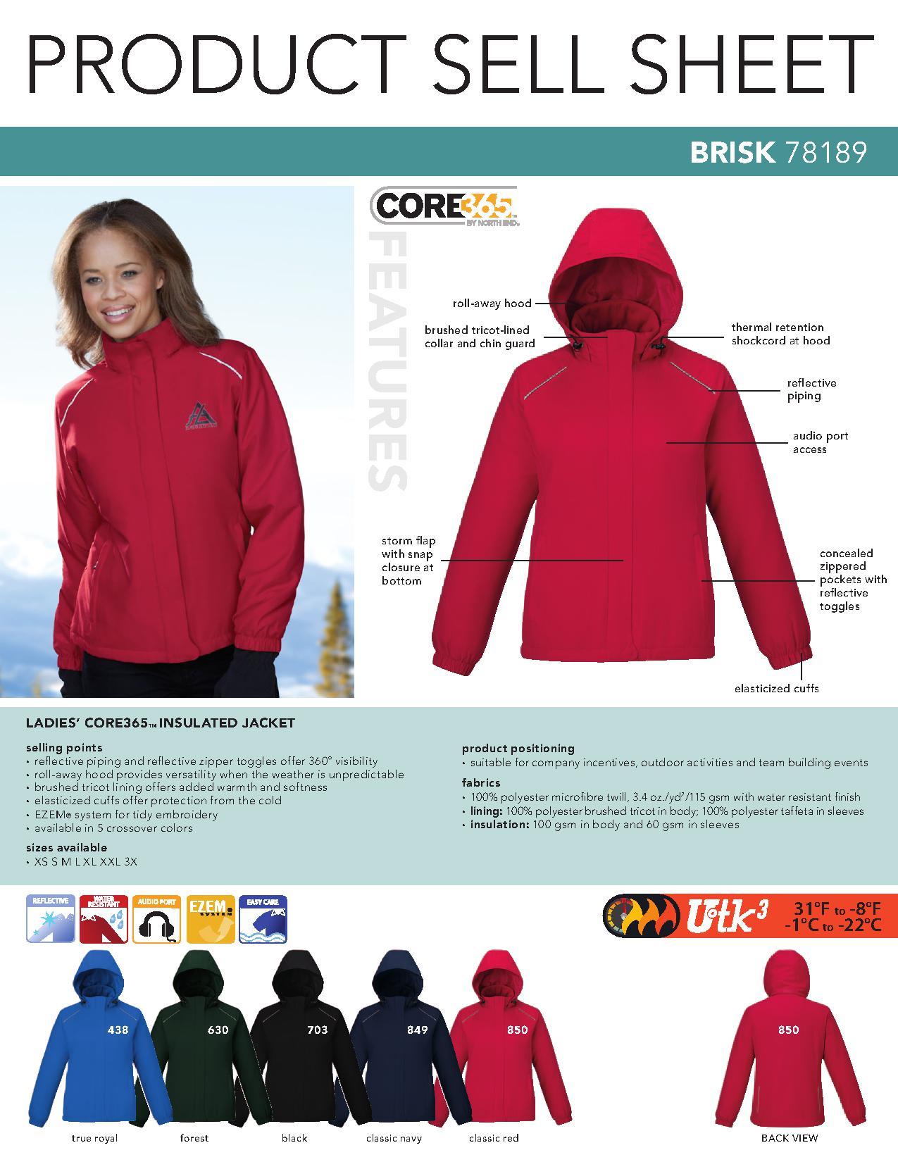 03c2cc7de8a Ash City Core365 78189 - Brisk Core365 Ladies' Insulated Jacket