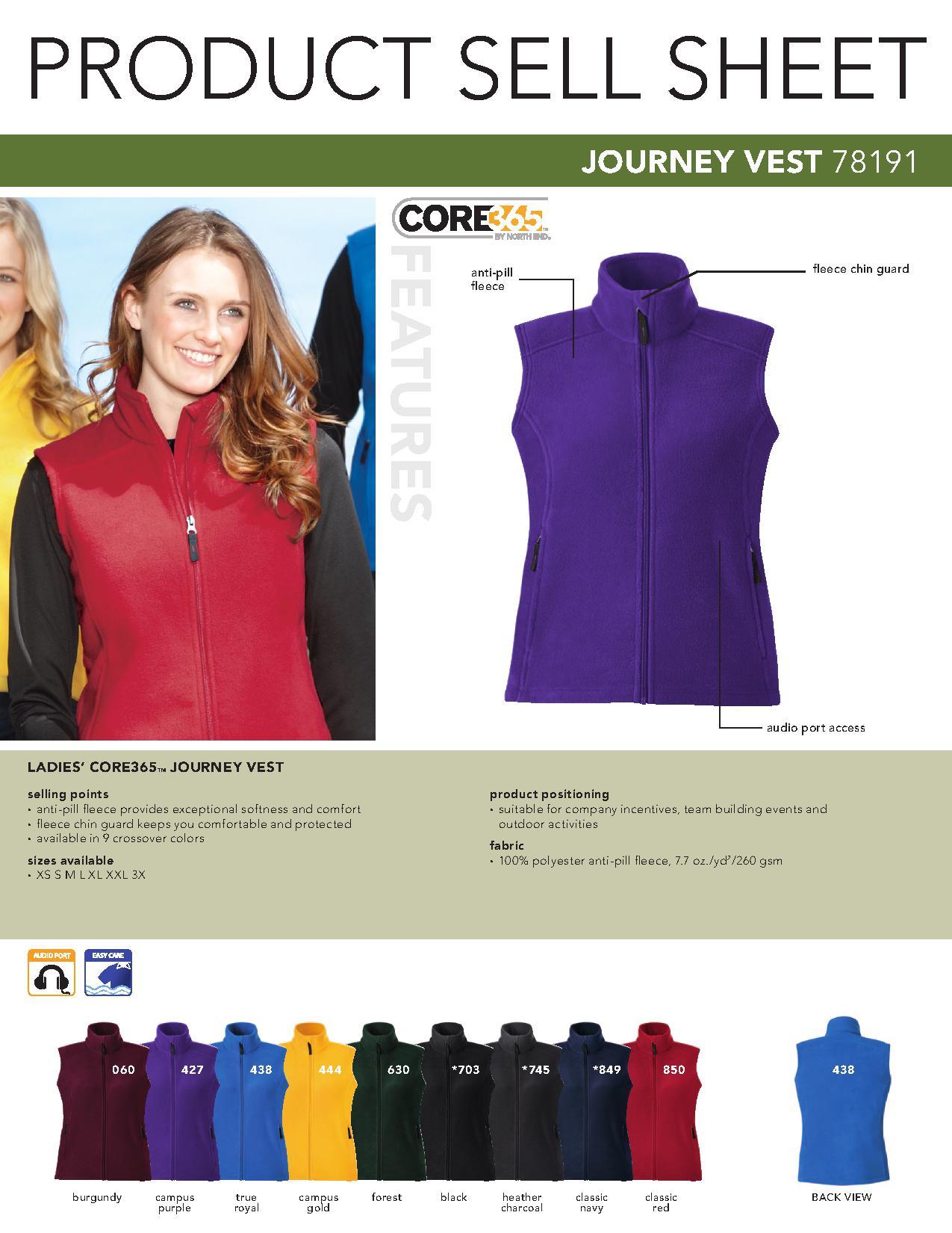 9d8786c9e Ash City Core365 78191 - Journey Core365 Ladies' Fleece Vest