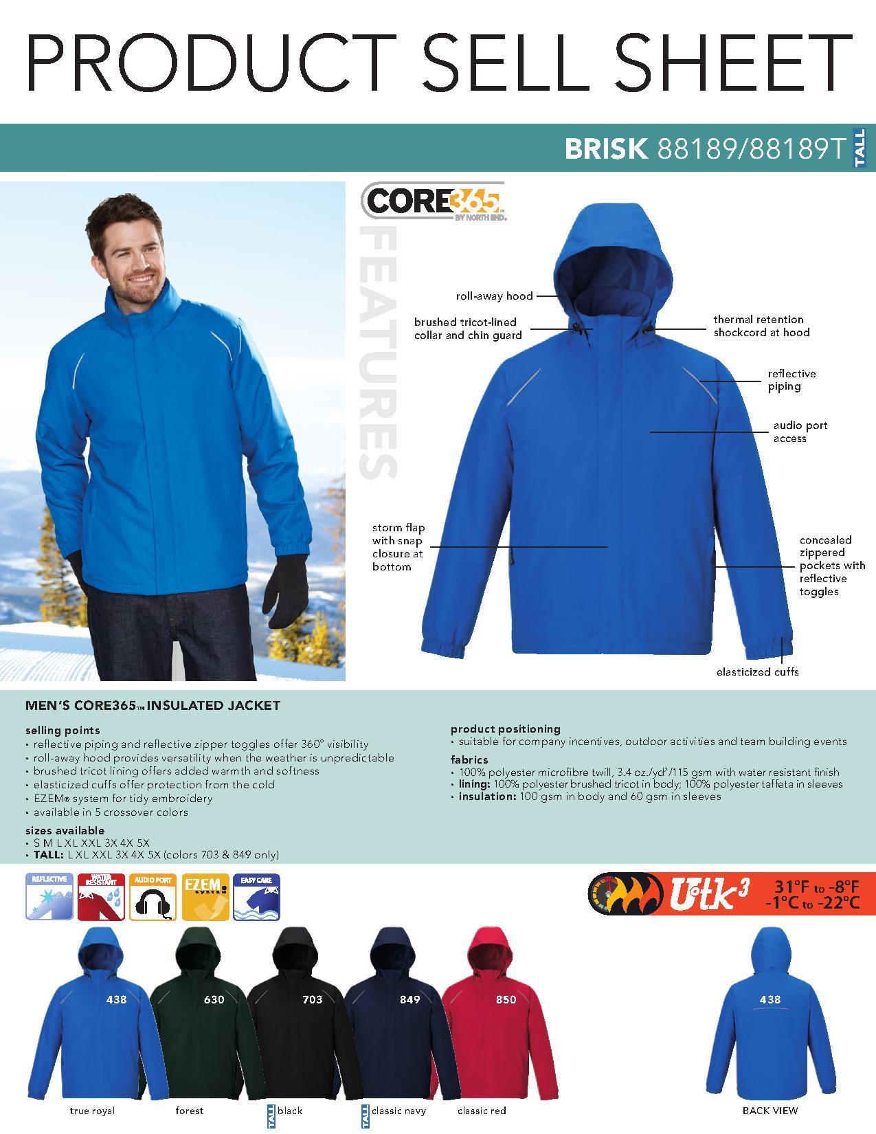 f00e24092ae Ash City Core365 88189T - Brisk Core365 Men's Insulated Jacket