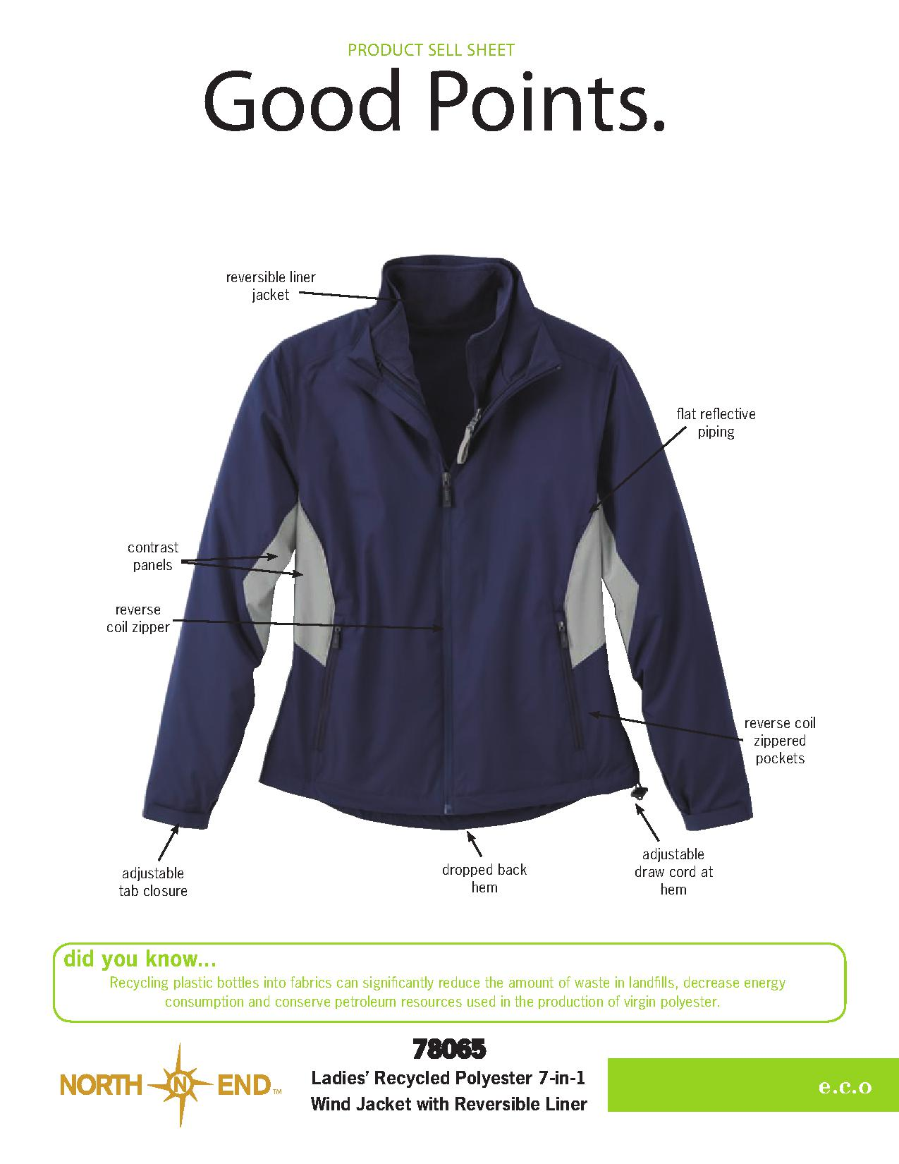 Ash City e.c.o Outerwear 78065 - Ladies' Recycled Polyester 7-In-1 Wind Jacket With Reversible Liner