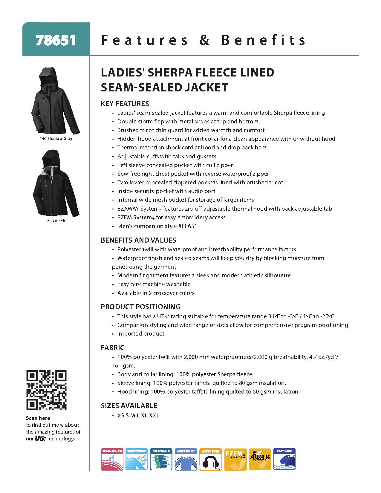 Ash City UTK 2 Warm.Logik 78651 - Adventure Ladies' Sherpa Fleece Lined Seam-Sealed Jacket