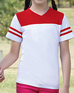 LAT Drop Ship - 2637 Girls' Football Longer Length T-...