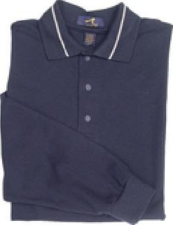 Ash City Pique 225439 - Men's Long Sleeve Pique Polo With Mini Stripe Trim
