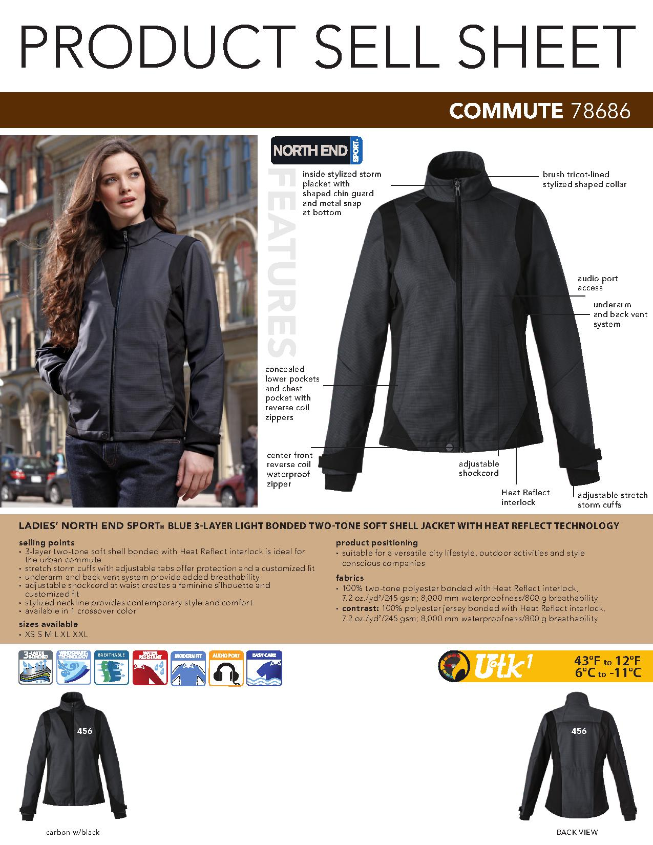 Ash City Light Bonded Jackets 78686 - Commute Ladies' 3-Layer Light Bonded Two-Tone Soft Shell Jacket With Heat Reflect Technolo