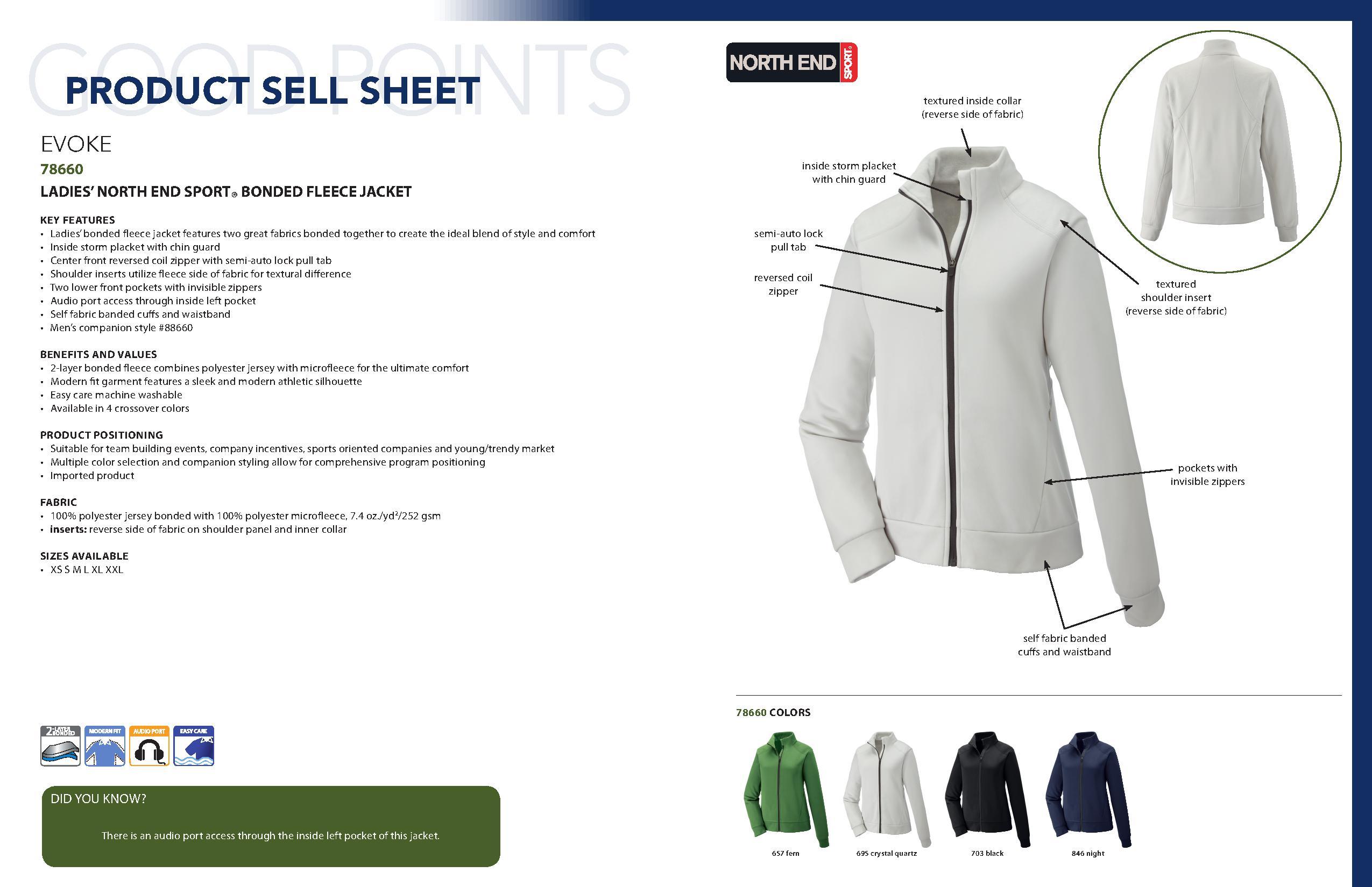 Fern Ash City Womens Evoke Ladies Bonded Fleece Jacket