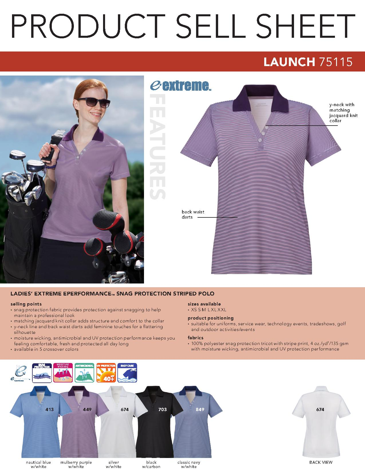 Extreme Launch Ladies Striped Polo Shirt