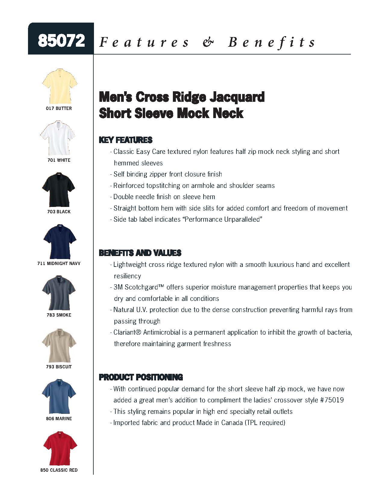 Ash City Performance 85072 - Men's Cross Ridge Jacquard Short Sleeve Half Zip Mock Neck