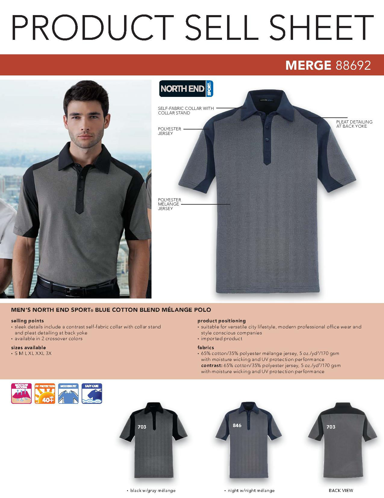 Ash City Performance 88692 - Merge Cotton Blend Melange Polo