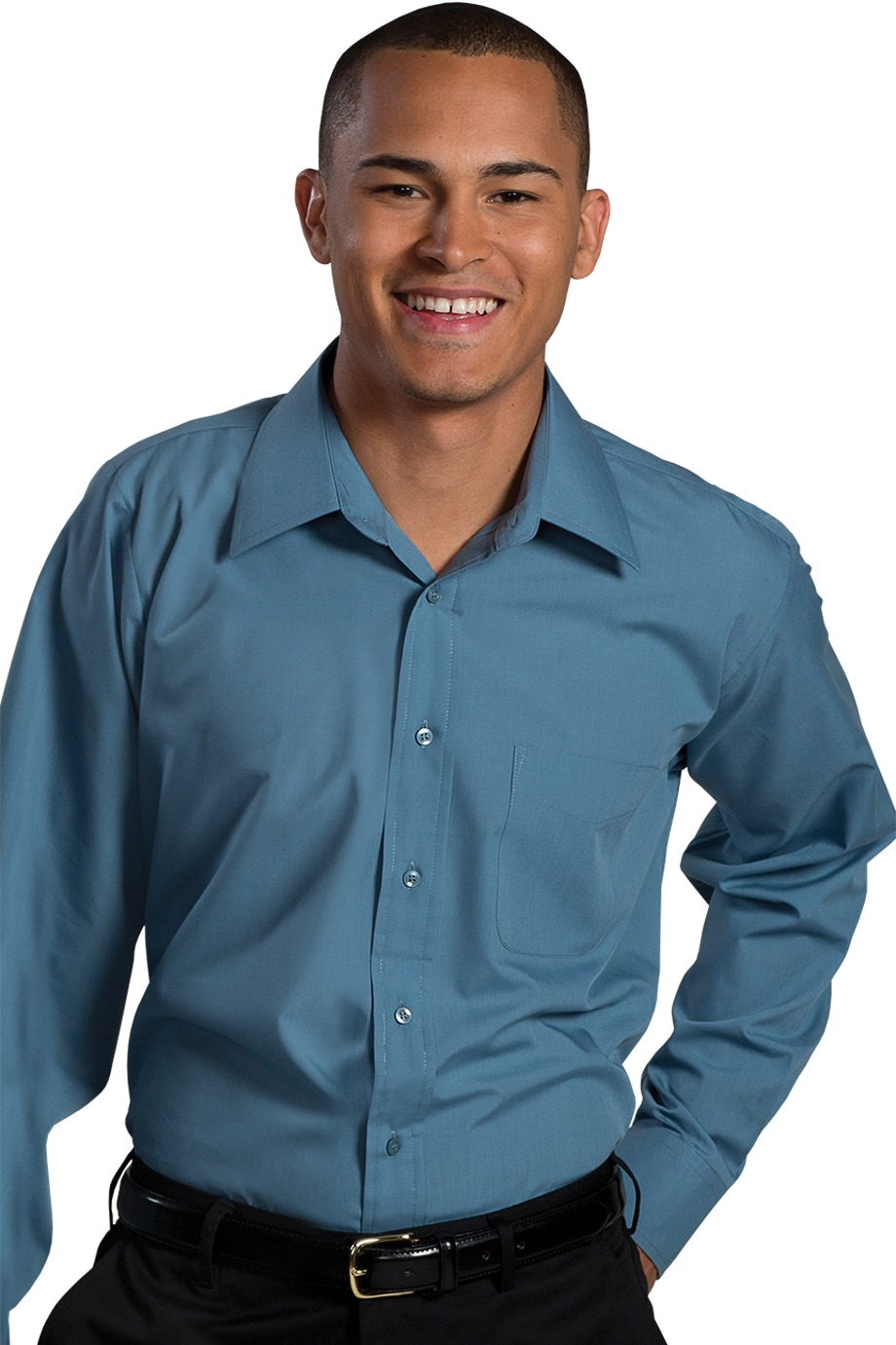 Edwards Garment Mens Fashion Broadcloth Chest Pocket Cotton Shirt