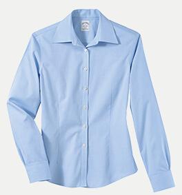 Brooks Brothers BR5142 346 Women's No-Iron Pinpoint Dress Shirt