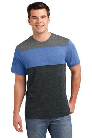 District DT143 Young Mens Tri-Blend Pieced Crewneck Tee