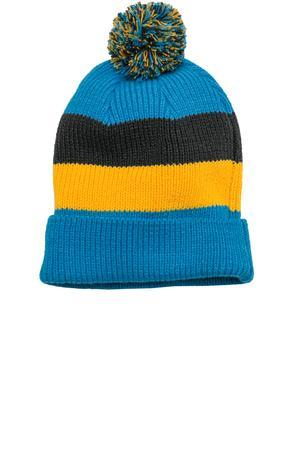 District DT627 Vintage Striped Beanie with Removable Pom