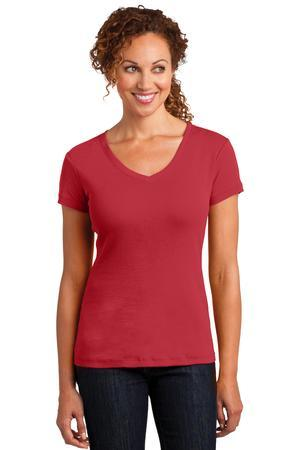 District Made DM401 Ladies Mini Rib V-Neck Tee
