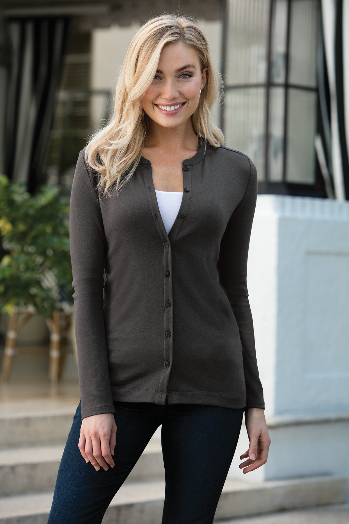 Port Authority LM1008 Ladies Concept Stretch Button-...