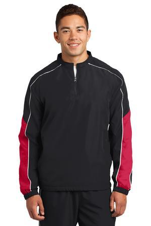 Sport-Tek JST64 Piped Colorblock One Quarter-Zip Wind ...