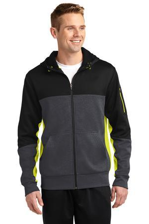 Sport-Tek ST245 Tech Fleece Colorblock Full-Zip Hooded Jacket