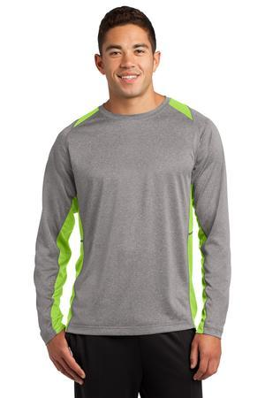 Sport-Tek ST361LS Long Sleeve Heather Colorblock Contender ...
