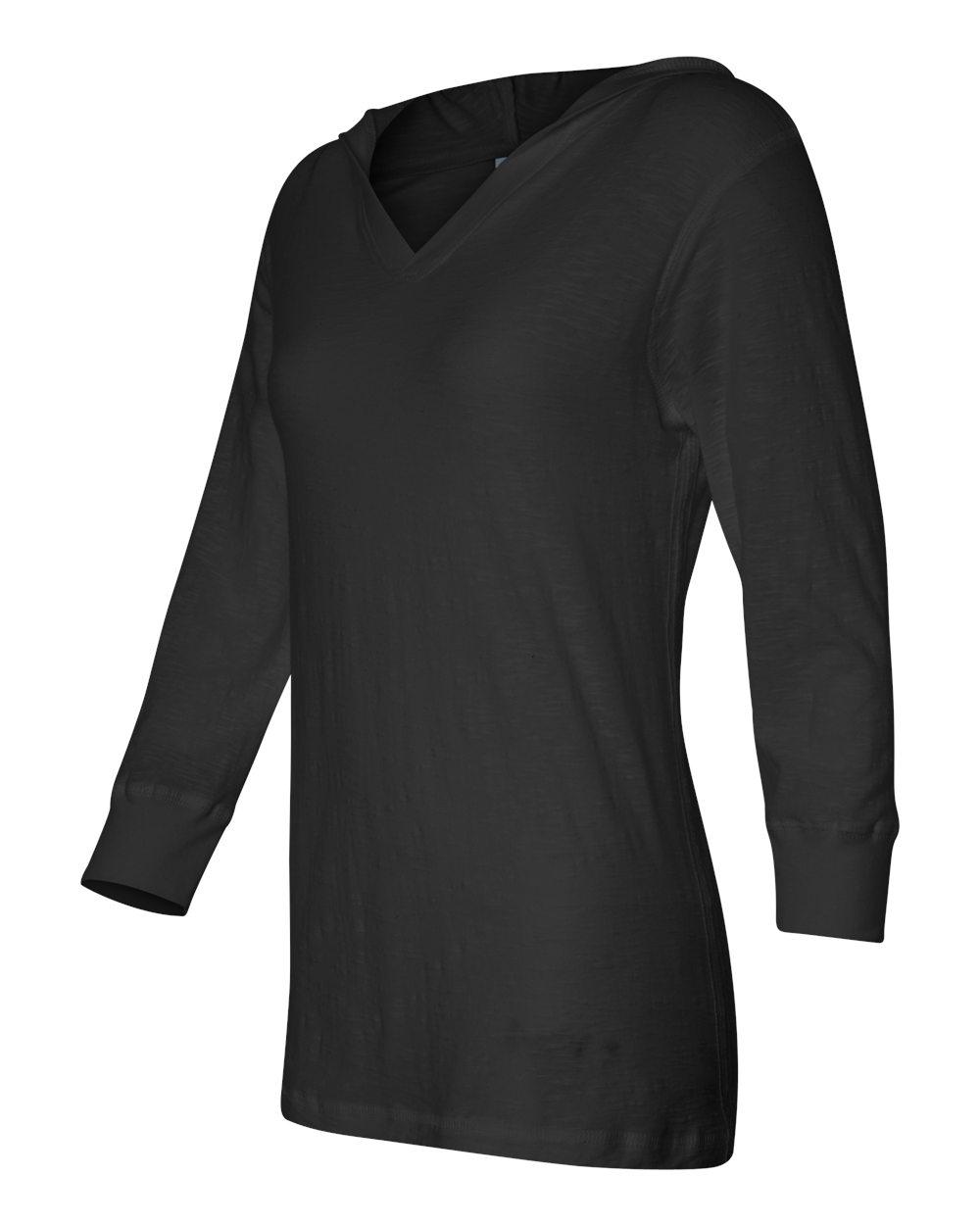 J.America 8153 Ladies' Three-Quarter Sleeve Hooded Slub Tee