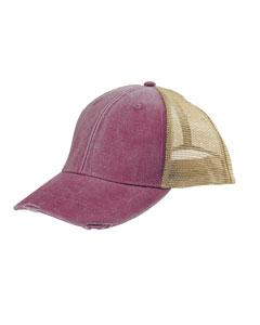 Adams Caps OL102 - 6-Panel Pigment-Dyed Distressed Trucker Cap