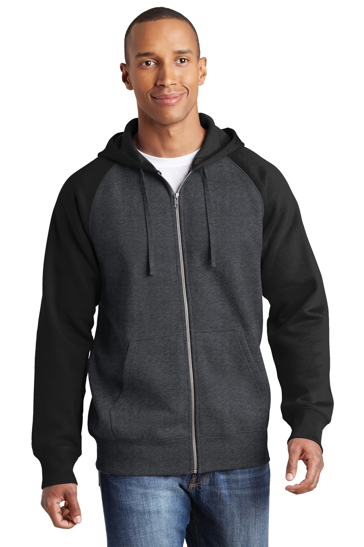 Sport Tek St269 Raglan Colorblock Full Zip Hooded Fleece Jacket Fleece Sport tek wholesale polos and shirts. sport tek st269 raglan colorblock full zip hooded fleece jacket