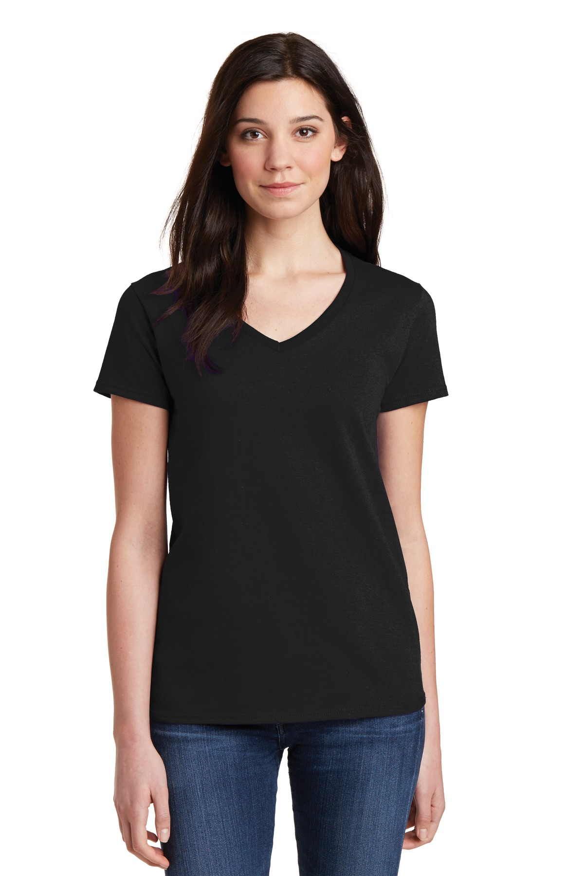 Gildan 5v00l ladies heavy cotton 100 cotton v neck t Womens black tee shirt