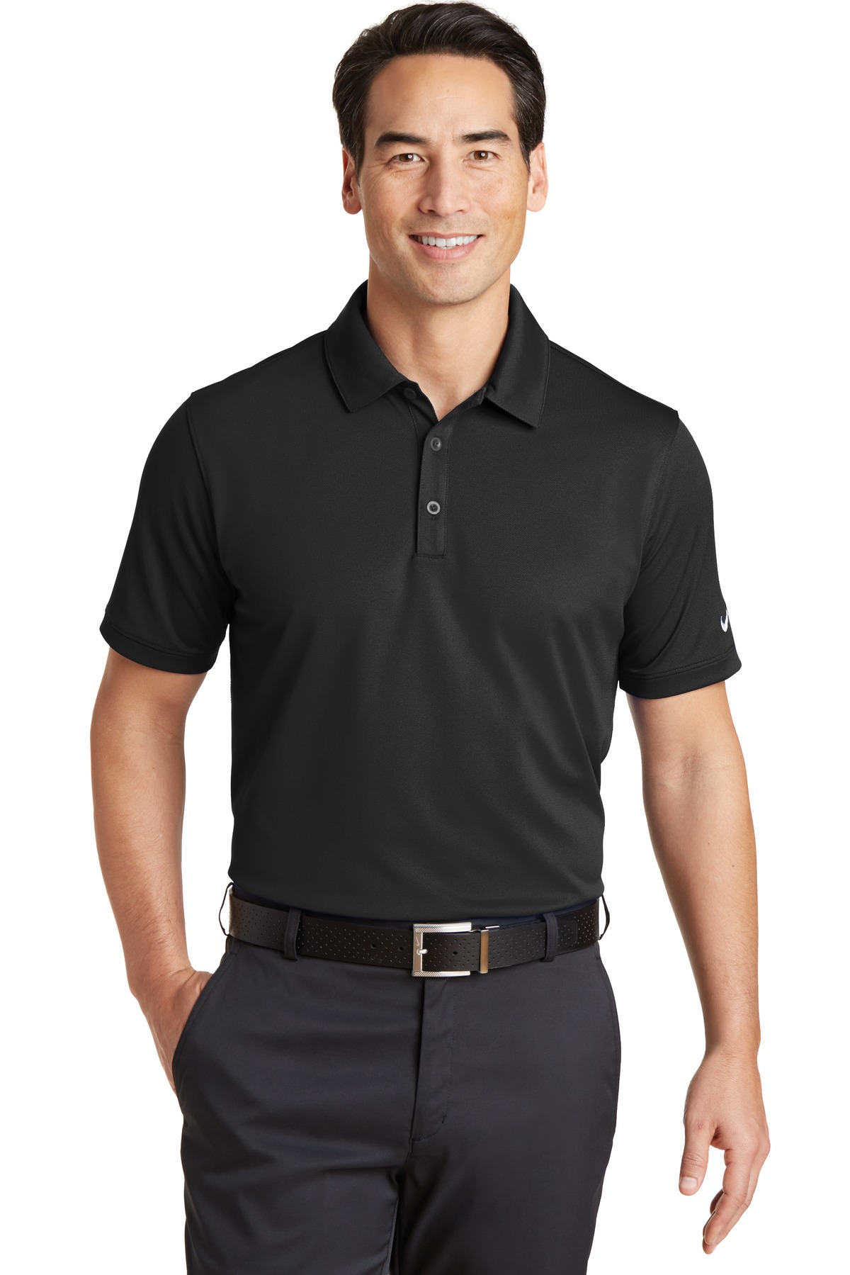 Nike golf 746099 dri fit solid icon pique polo men 39 s t for Dri fit collar shirts