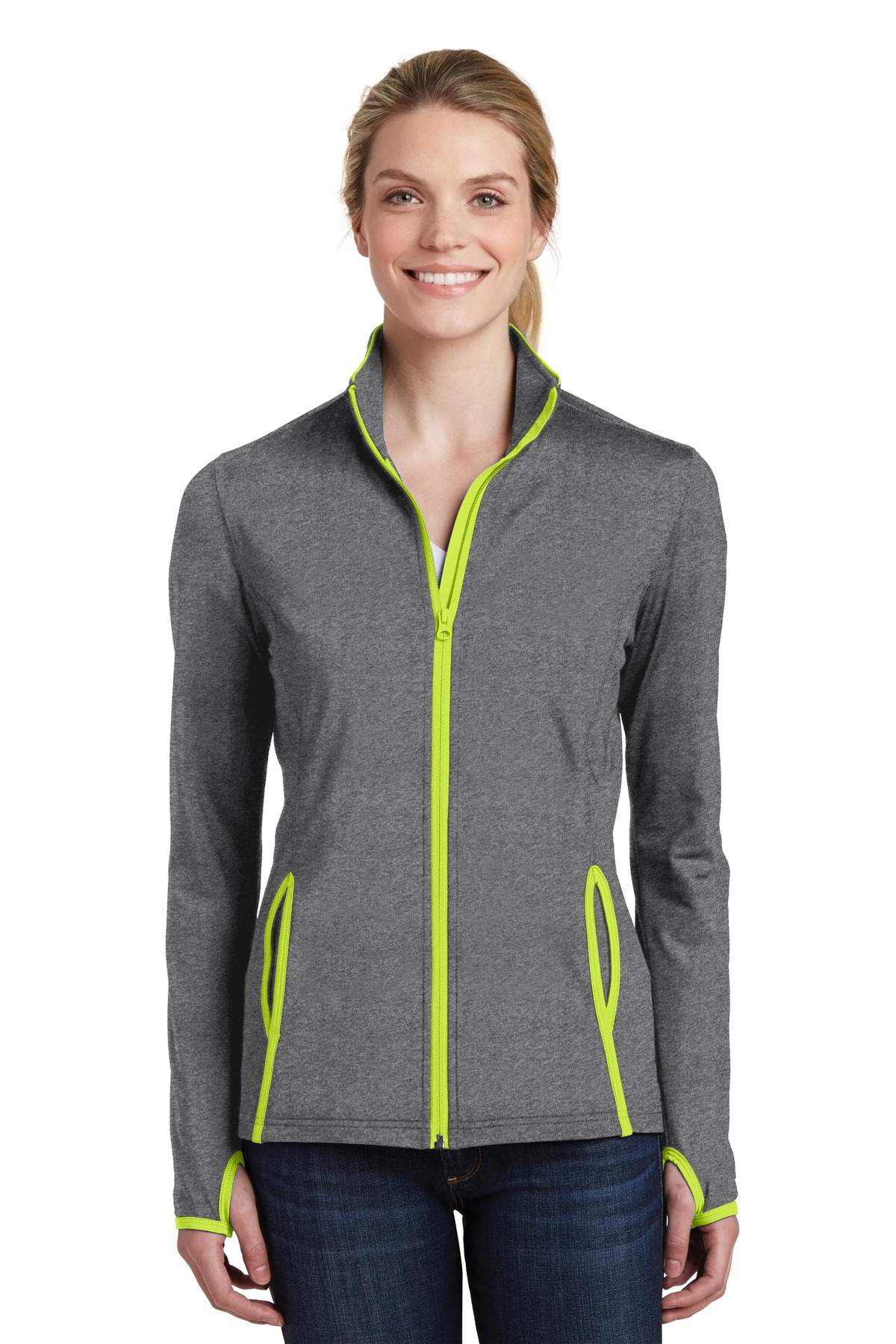click to view Charcoal Grey Heather/ Charge Green