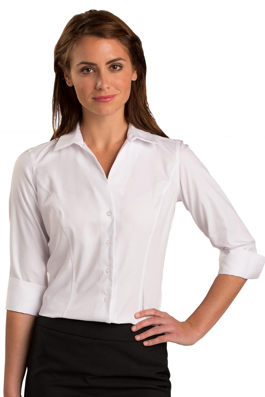 Edwards garment 5976 three fourth sleeve no iron blouse for No iron white shirt womens