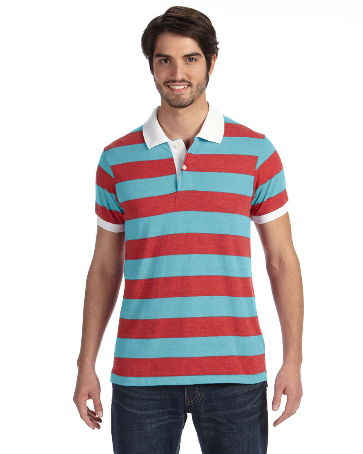 Alternative - AA1905 Men's Ugly Stripe Short-Sleeve Polo