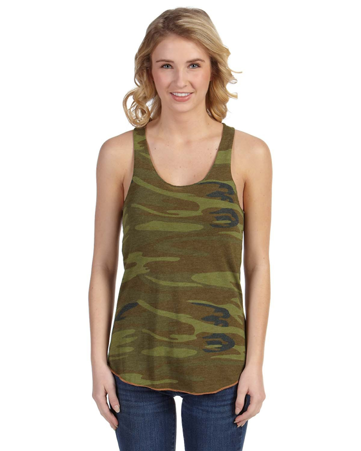 Alternative - AA1927P Ladies' Meegs Printed Racer Tank